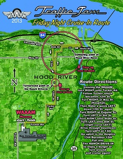 The 2013 Traffic Jam cruise route will loop around Hood River.