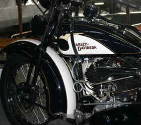 A Harley Davidson motorcycle at the Western Antique Aeroplane and Automobile Muesum.